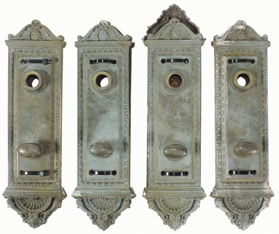 Architectural door hdwr, 4 matching brass sets,