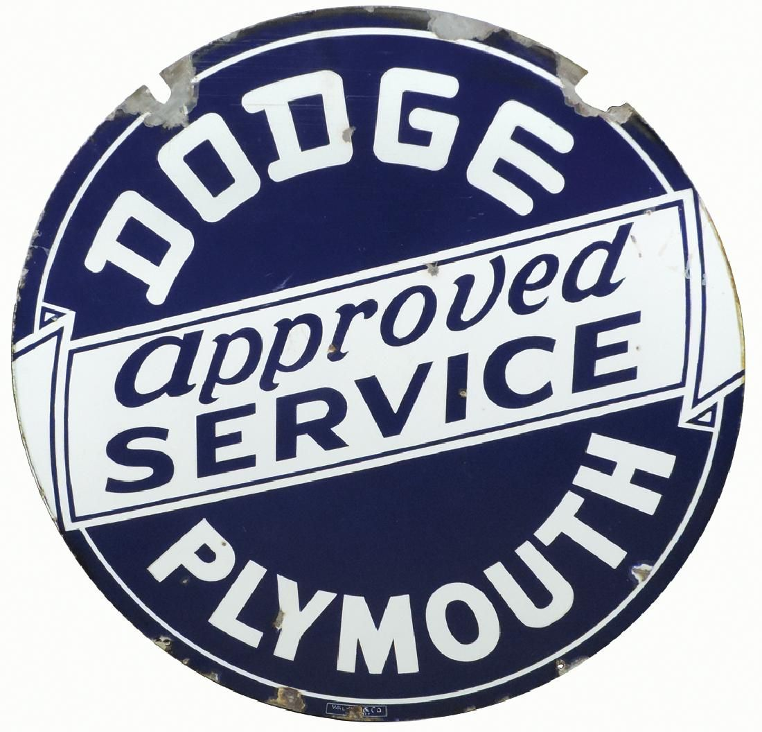 Automobile dealer sign, Dodge Plymouth Approved
