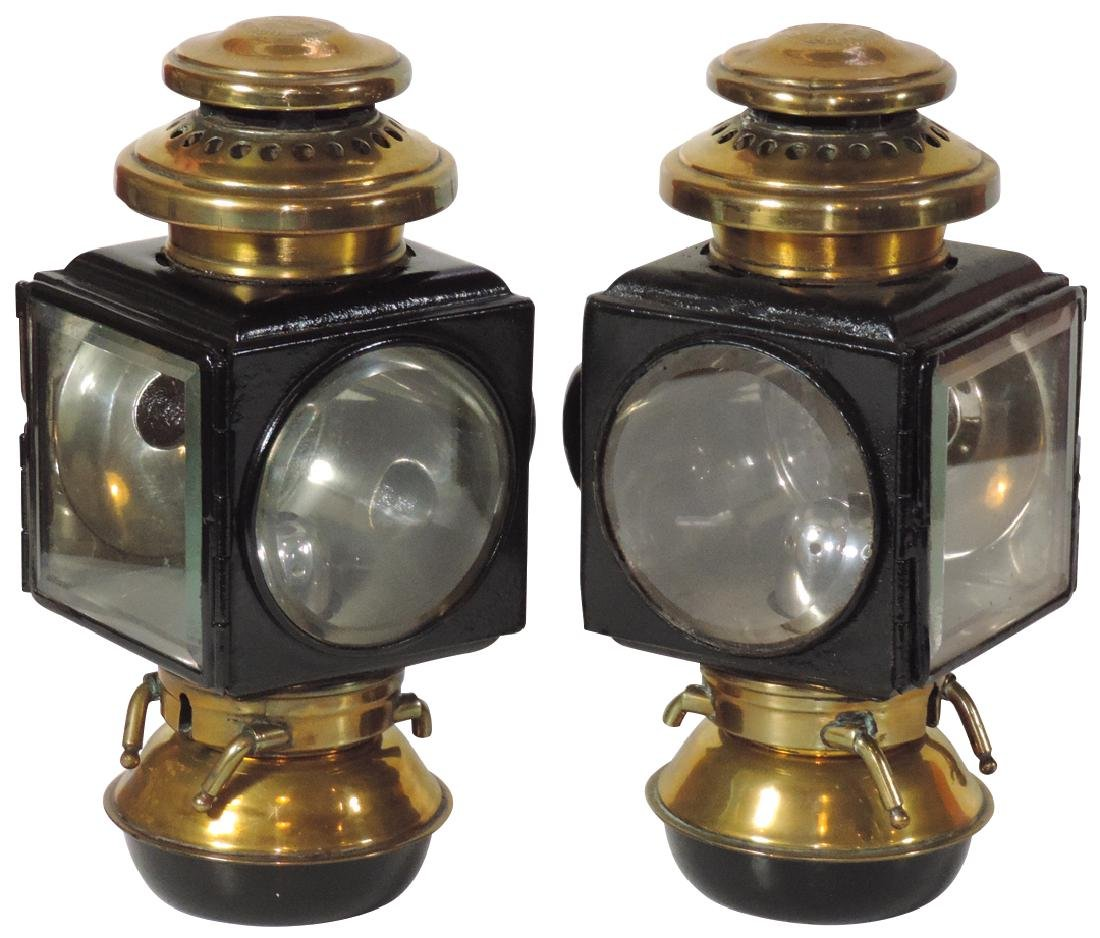 Automobile Model T head or side lamps (2), matched pair