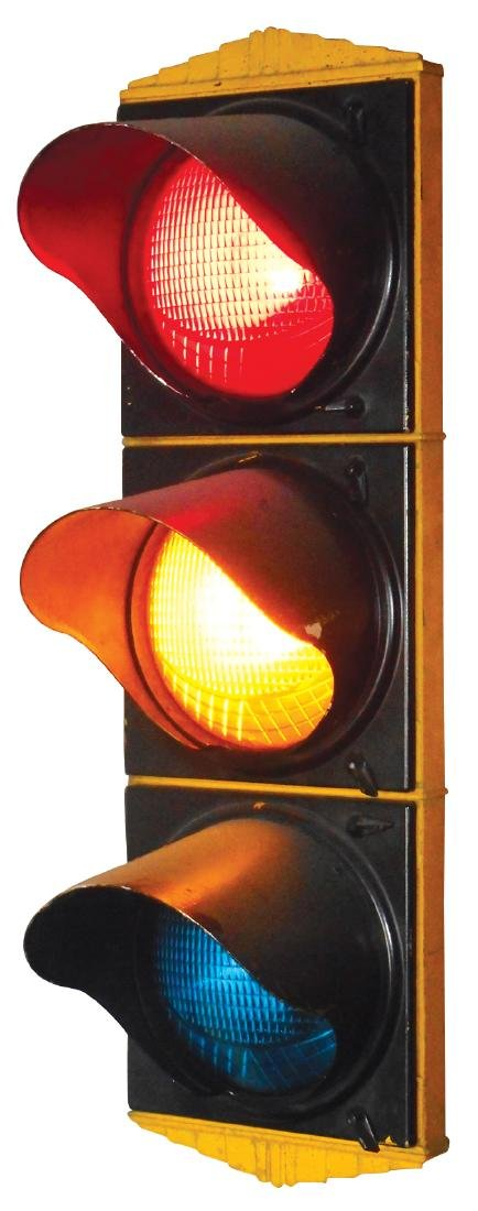 Automobile traffic light, cast metal w/3 colored