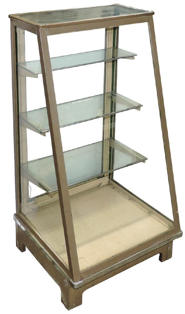 Showcase, slanted floor case, metal & glass w/3