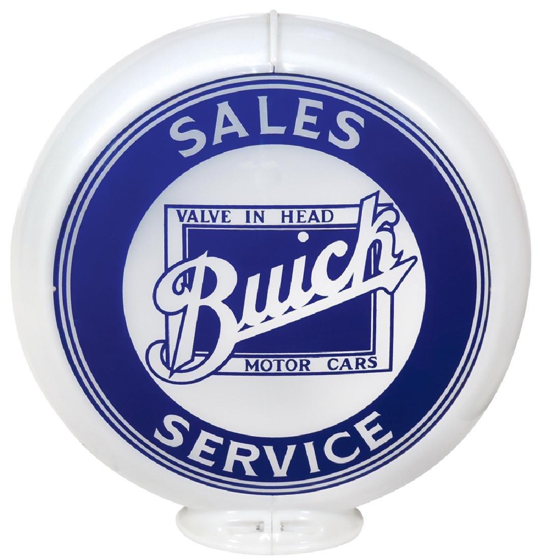 Gasoline globe, Buick Sales & Service, 2 curved glass