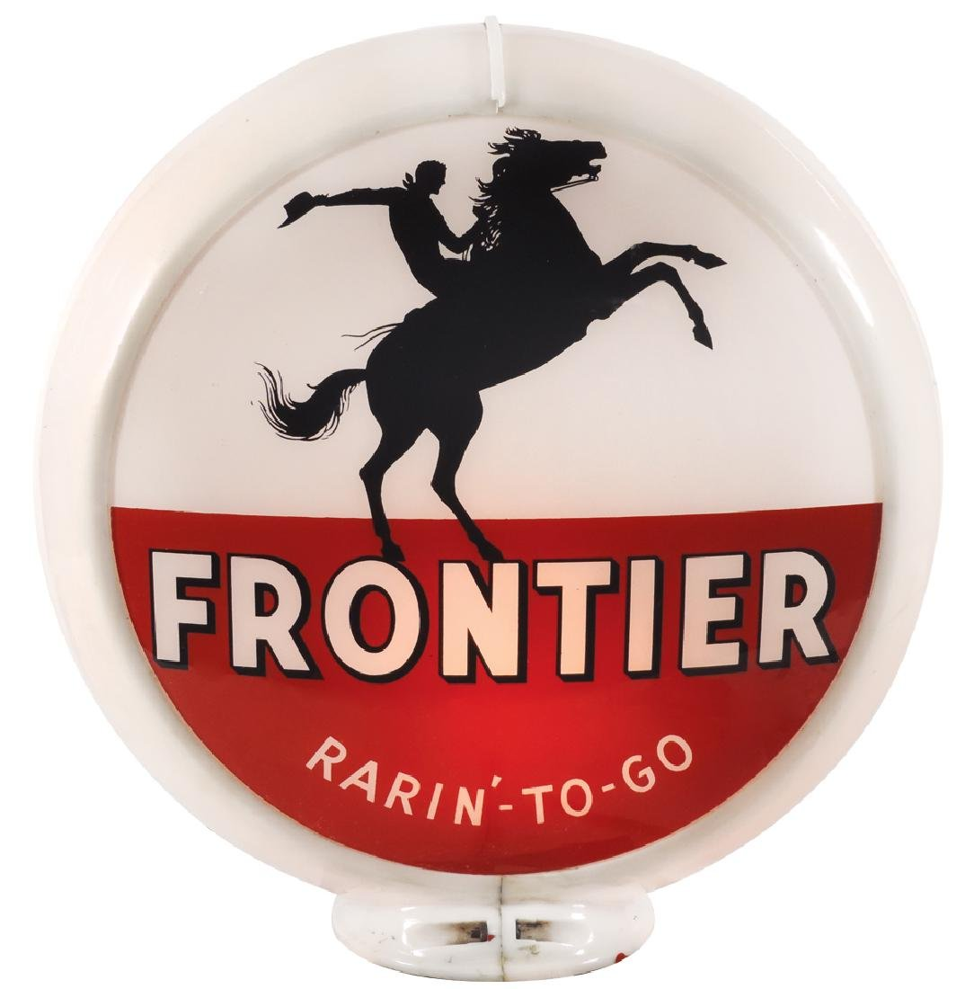 Gasoline globe, Frontier Rarin'-To-Go, 2 curved glass