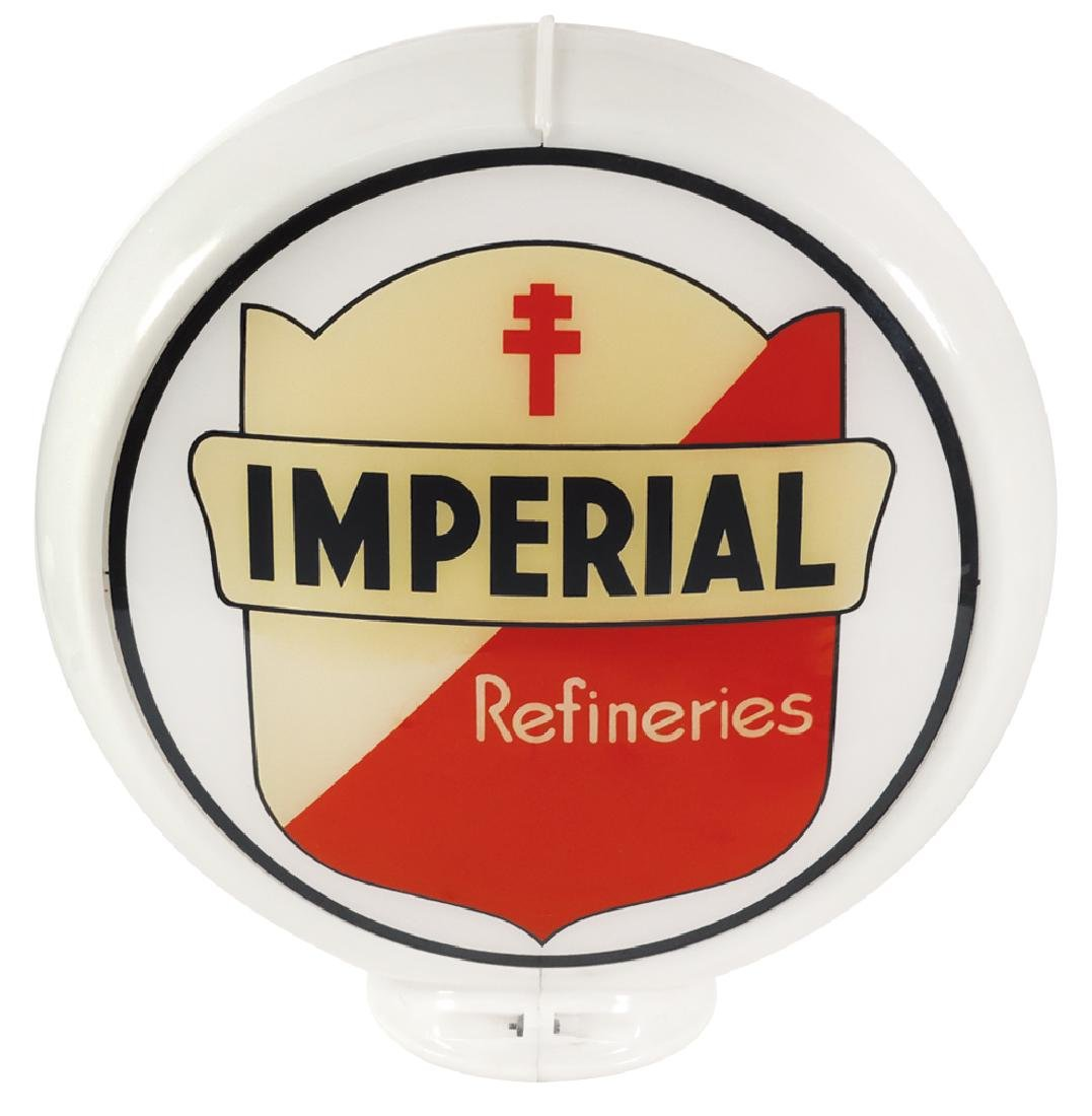 Gasoline globe, Imperial Refineries, 2 curved glass