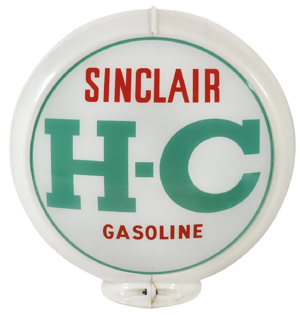 Gasoline globe, Sinclair H-C, 2 curved glass lenses in