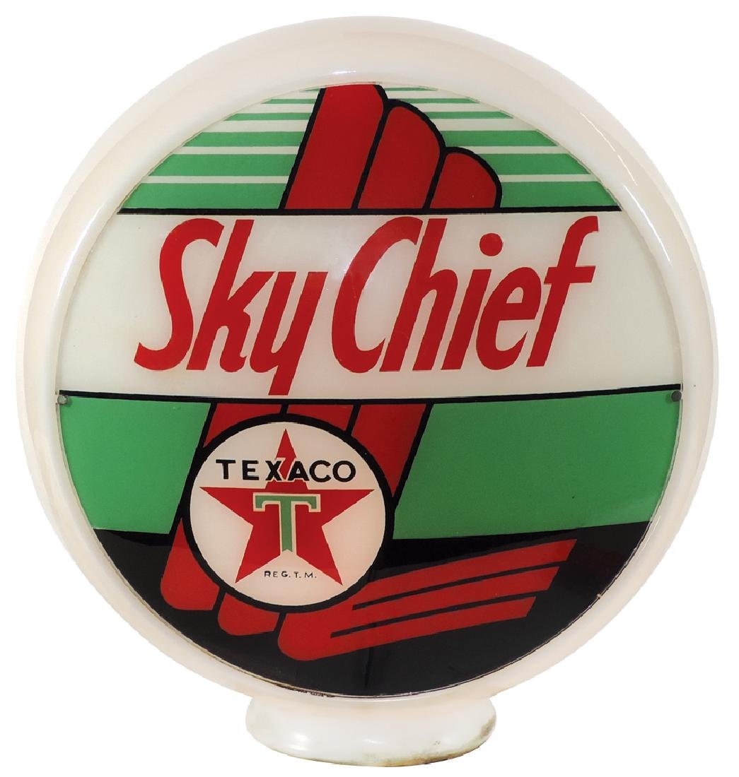 Gasoline globe, Texaco Sky Chief, 1 curved glass lens