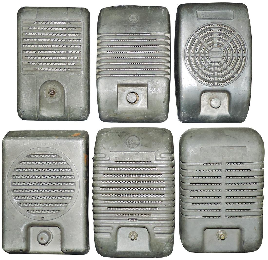 Drive-in speakers (6), all cast metal, RCA, CBX Mark