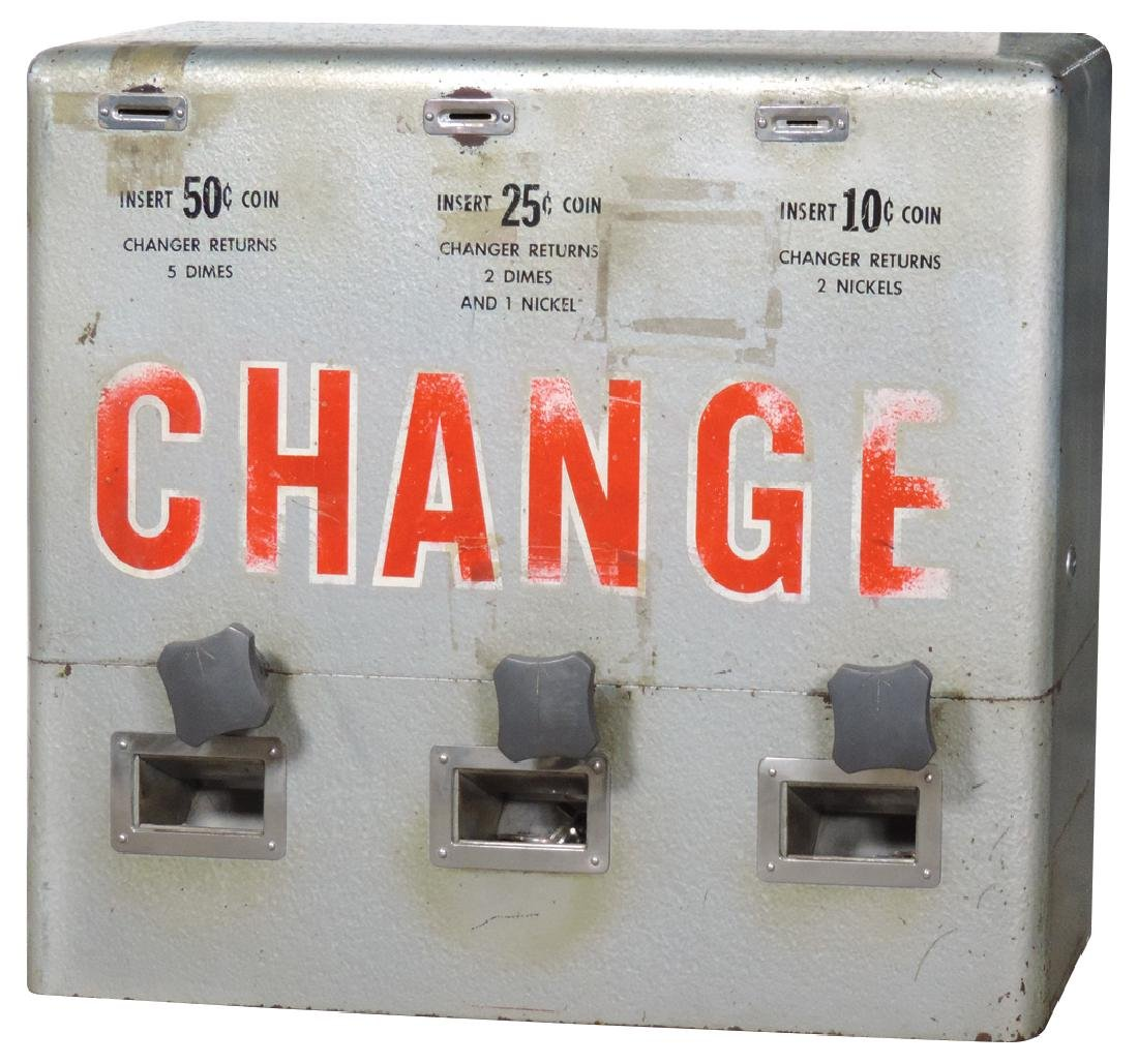 Coin changer, wall hung, metal, changes 10, 25 & 50