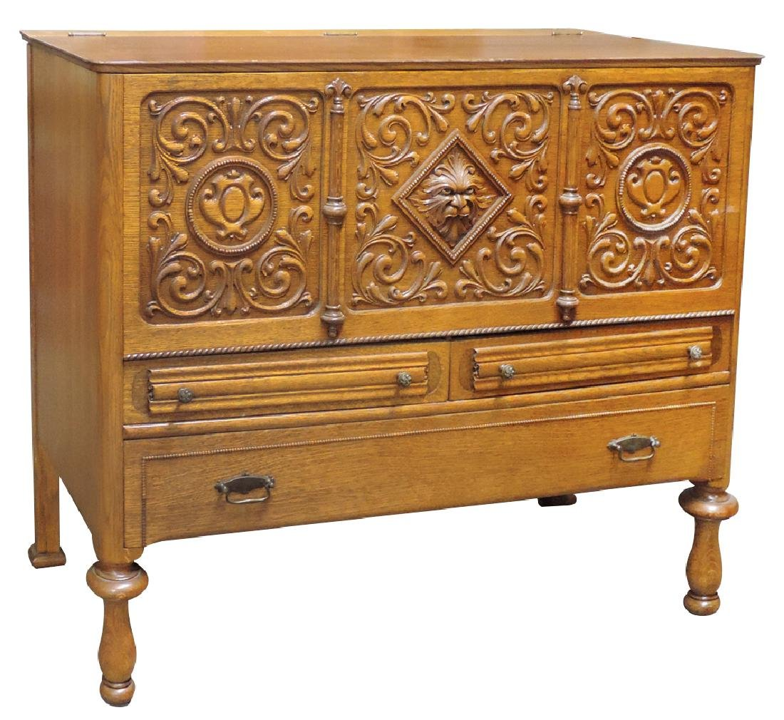 Furniture, chest, oak 3 drawer w/lift top, elaborately