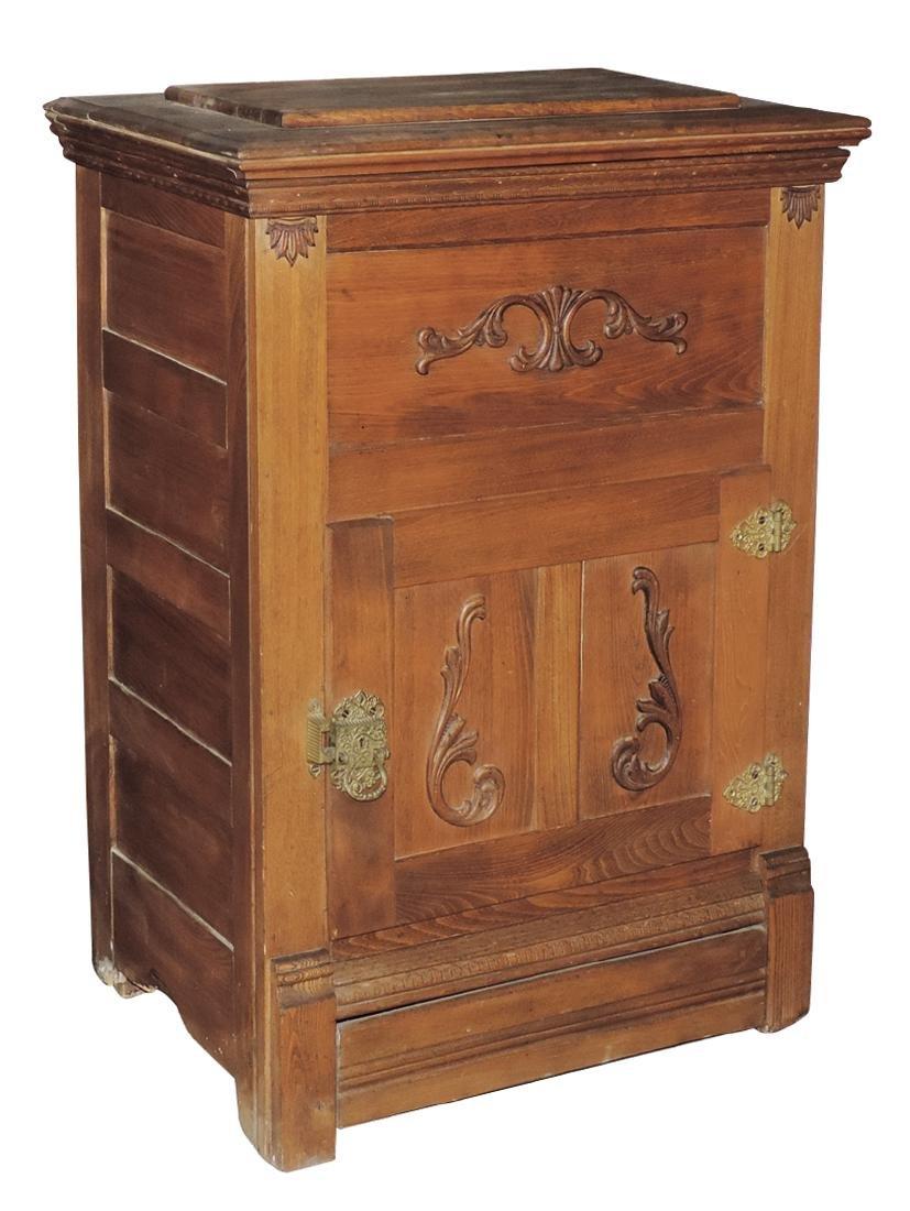Furniture, ice box, oak w/applied carvings, fancy brass