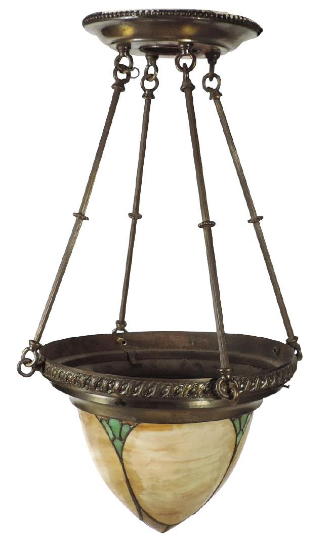 Lighting, hanging lamp, embossed brass holder w/stained