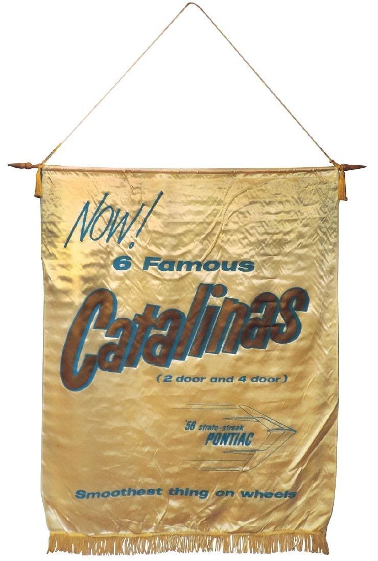 Automobile dealer banner, Pontiac Catalinas, satin