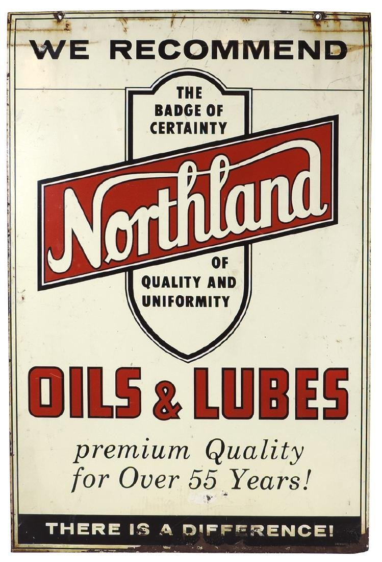 Petroliana sign, Northland Oils & Lubes, 2-sided metal