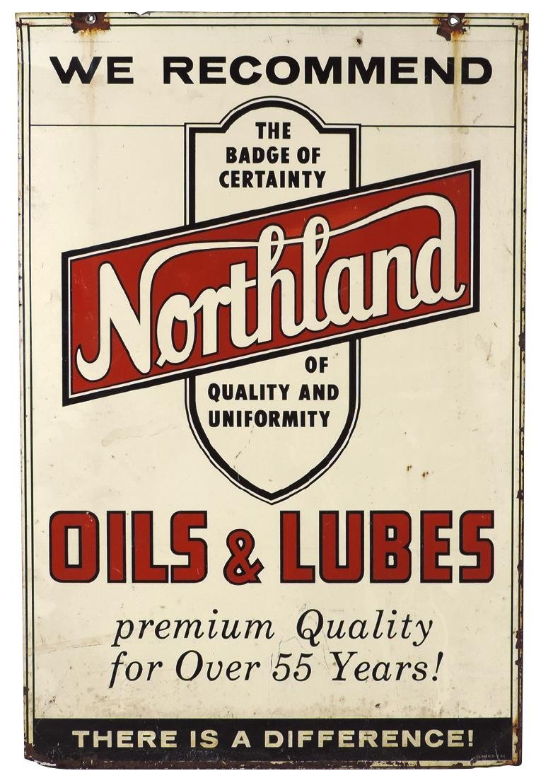 Petroliana sign, Northland Oils & Lubes, 2-sided metal - 2