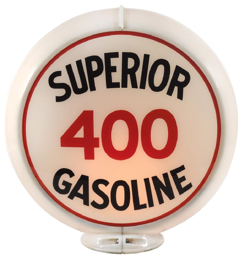 Gasoline globe, Superior 400 Gasoline, 2 curved glass