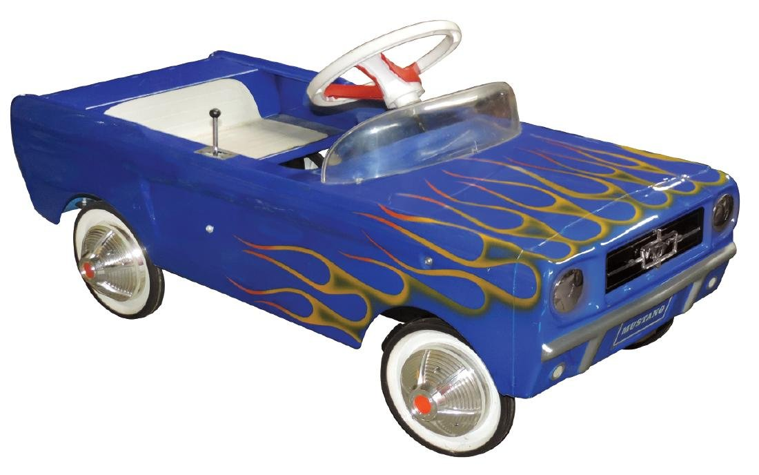 Children's pedal car, Ford Mustang, pressed metal &