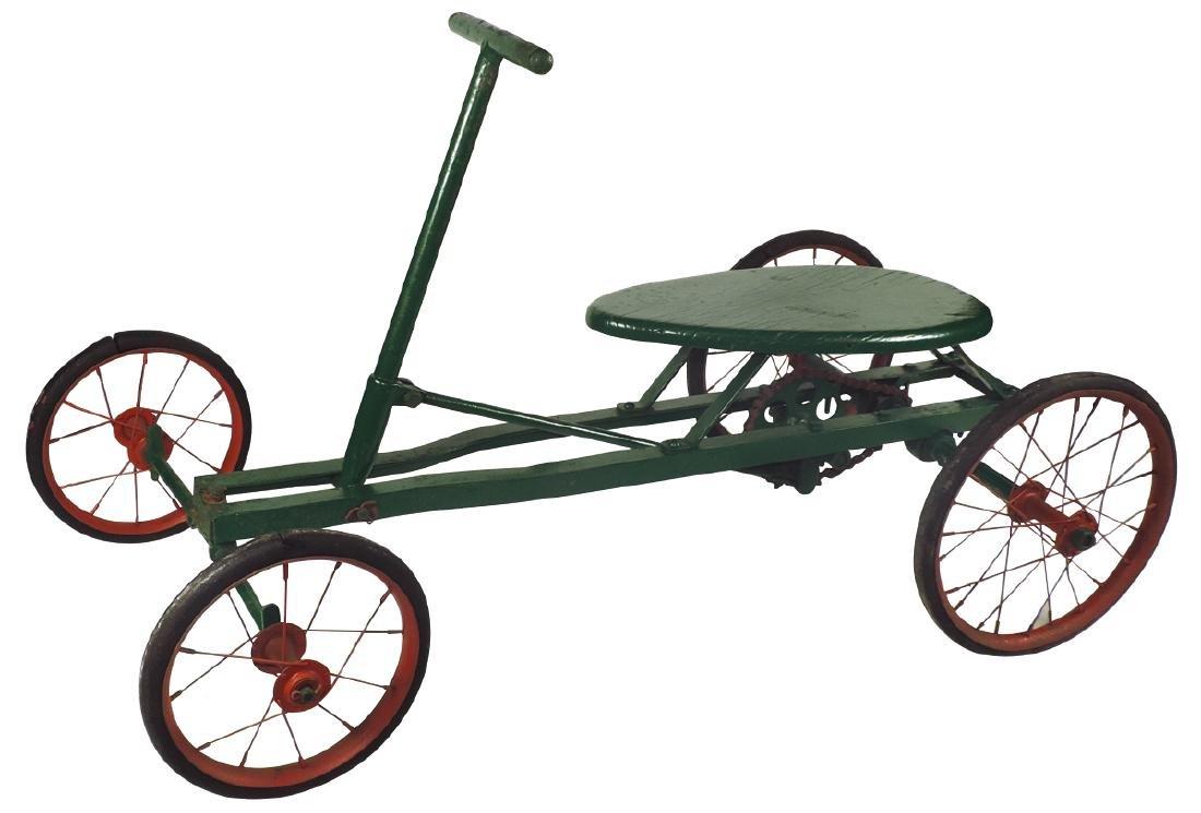 Children's pedal car, Irish Mail, iron w/wood seat &