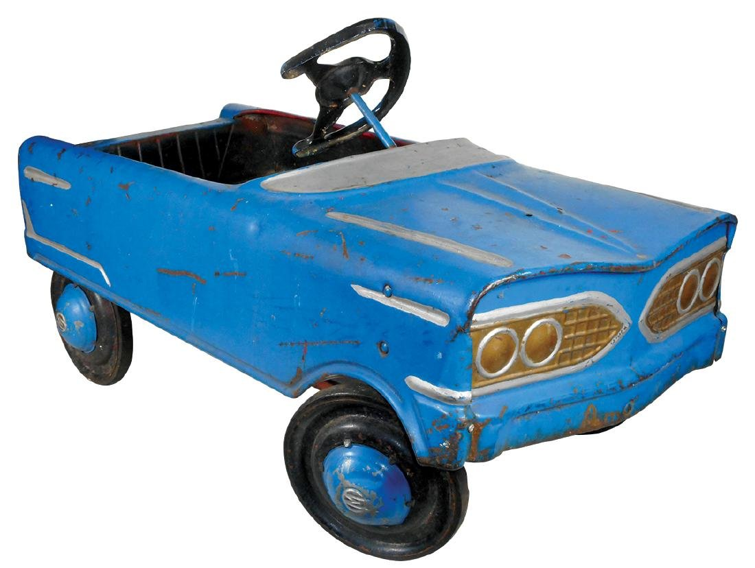 Children's pedal car, mfgd by Murray, blue & silver,