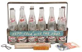 Pepsi-Cola metal double-dot bottle carrier w/12