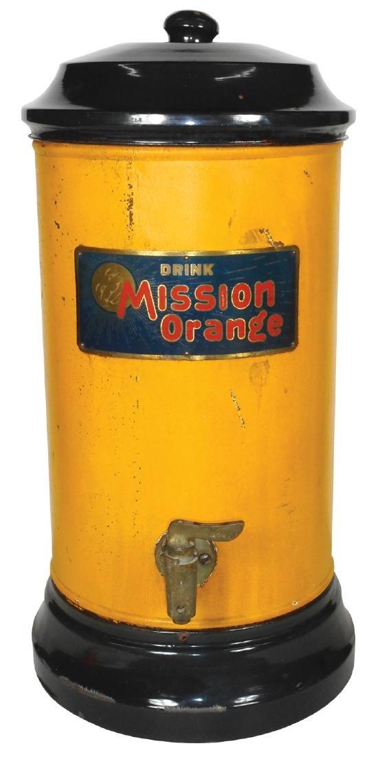 "Soda fountain syrup dispenser, ""Drink Mission Orange"","