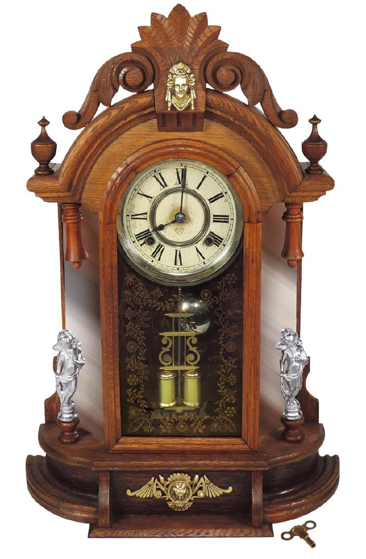 Clock, Ansonia mantel, oak time & strike w/brass &