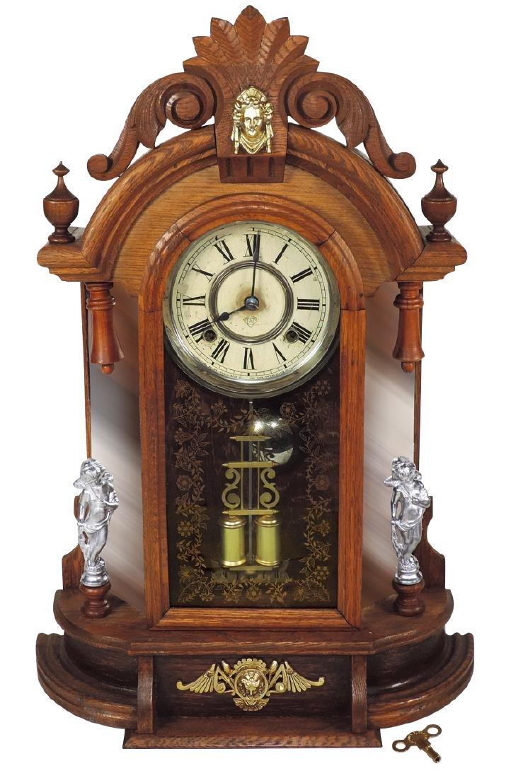 Clock, Ansonia mantel, oak time & strike w/brass &