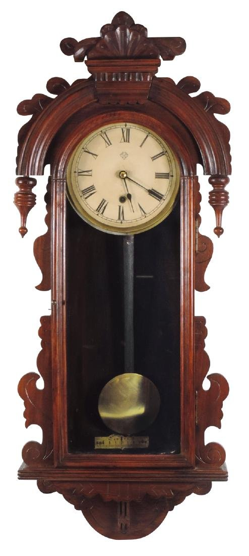 Clock, Ansonia wall regulator, walnut w/turned & carved