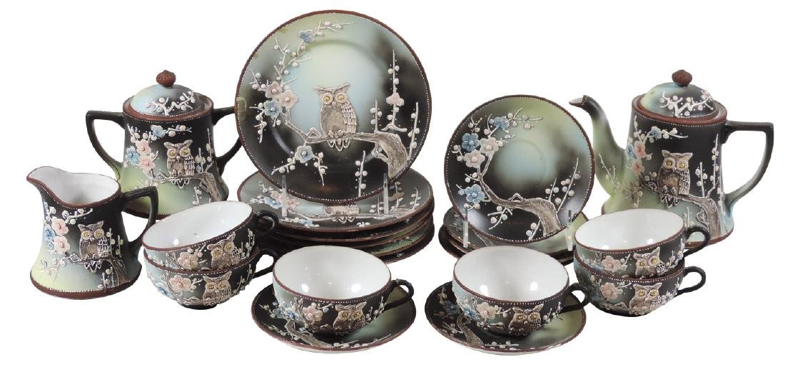 Porcelain tea set  (21 pcs), Nippon Moriage, Owl on