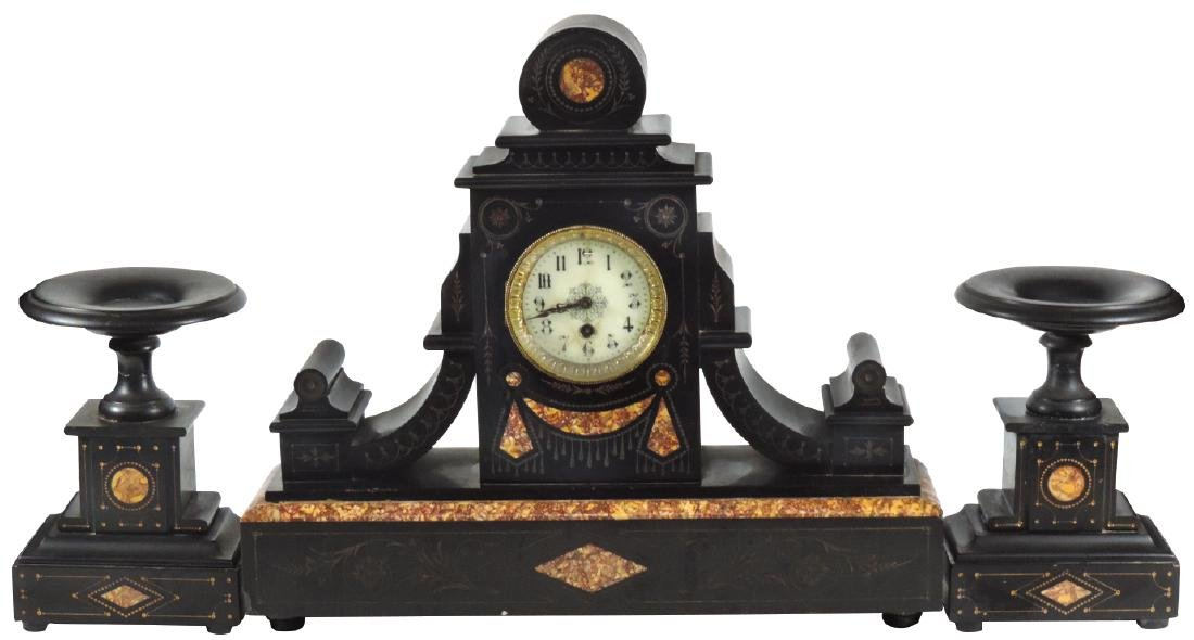 Clock, French black marble garniture set