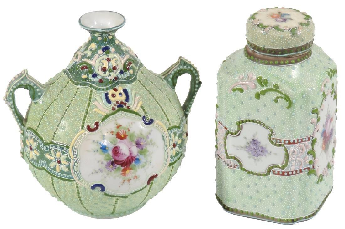 Porcelain (2), Nippon Moriage covered bottle & vase,