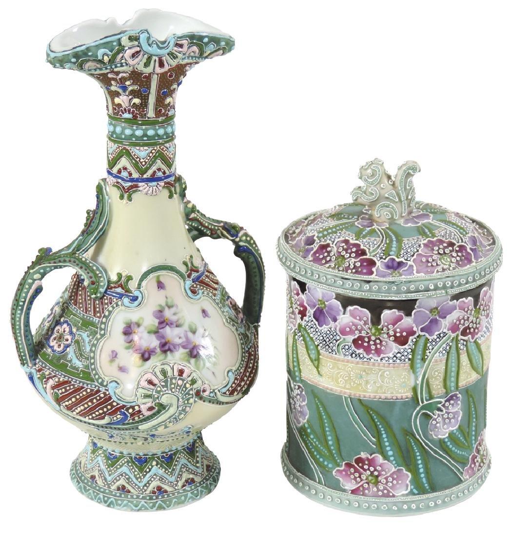 Porcelain (2), Nippon Moriage vase & biscuit jar