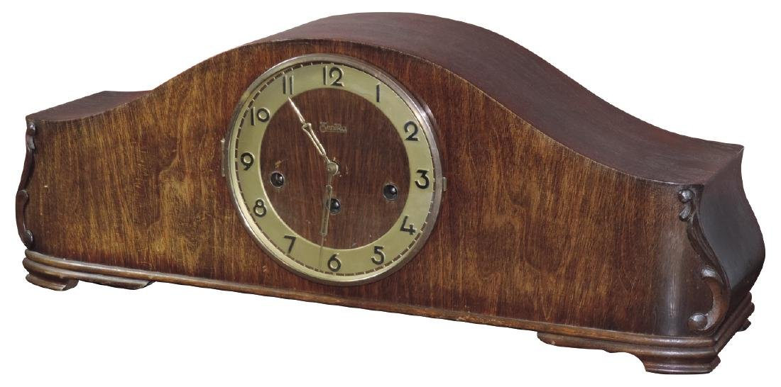 Clock, ZentRa mantle clock in wood case, FHS stamped on