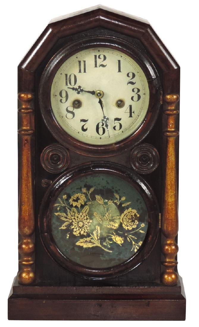 Clock, mantel, Ingraham & Co., double-dial in Rosewood