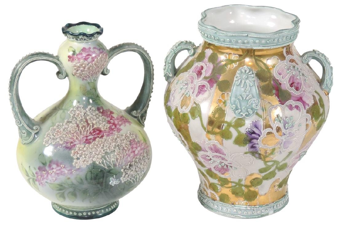 Porcelain (2), Nippon Moriage vases, 1 double handled &