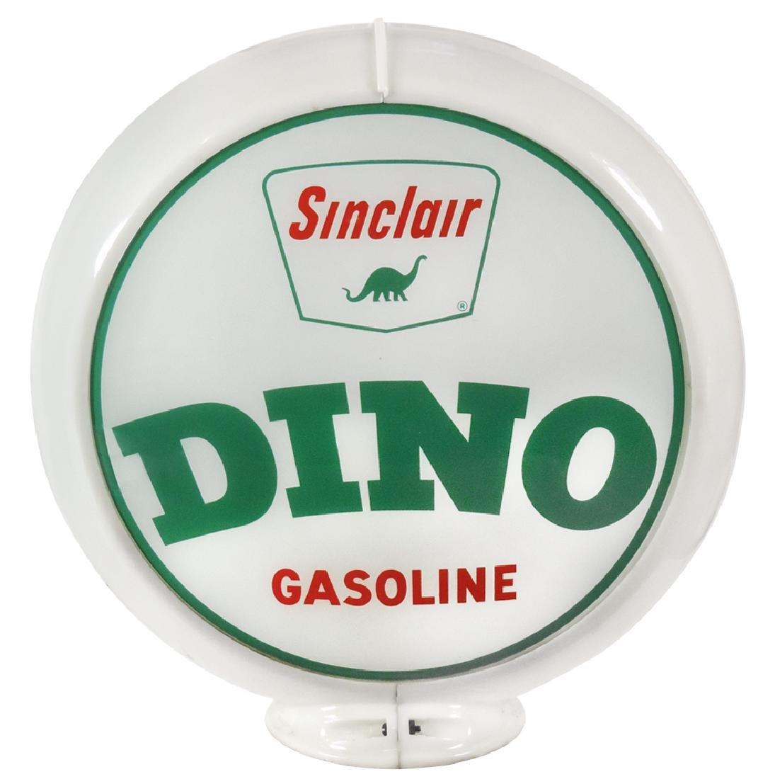 Gasoline Dino globe, Sinclair,  2 curved glass lenses