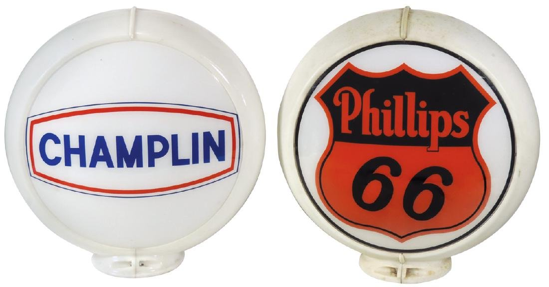 Gasoline globes (2), Champlin, 1 curved glass lens in