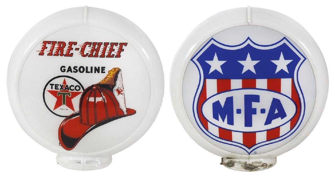 Gasoline globes (2), Texaco Fire-Chief, 2 curved glass
