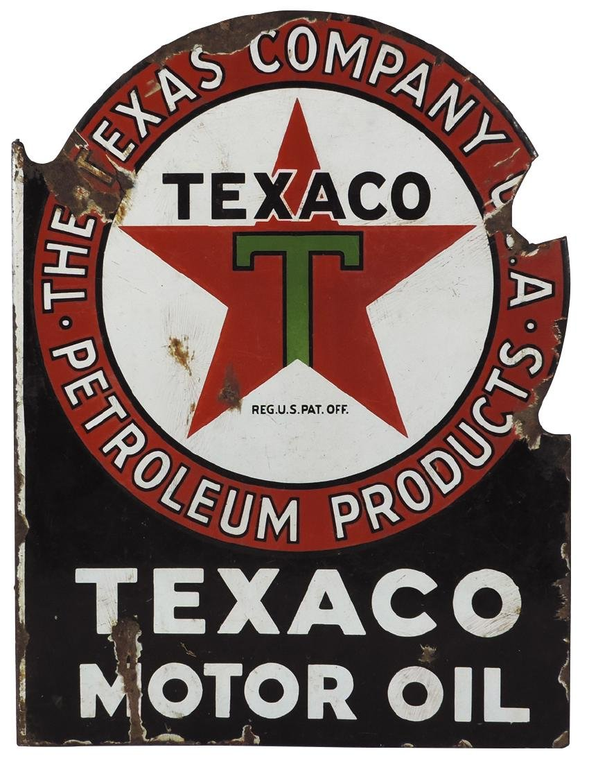 Petroliana sign, Texaco Motor Oil, 2-sided porcelain