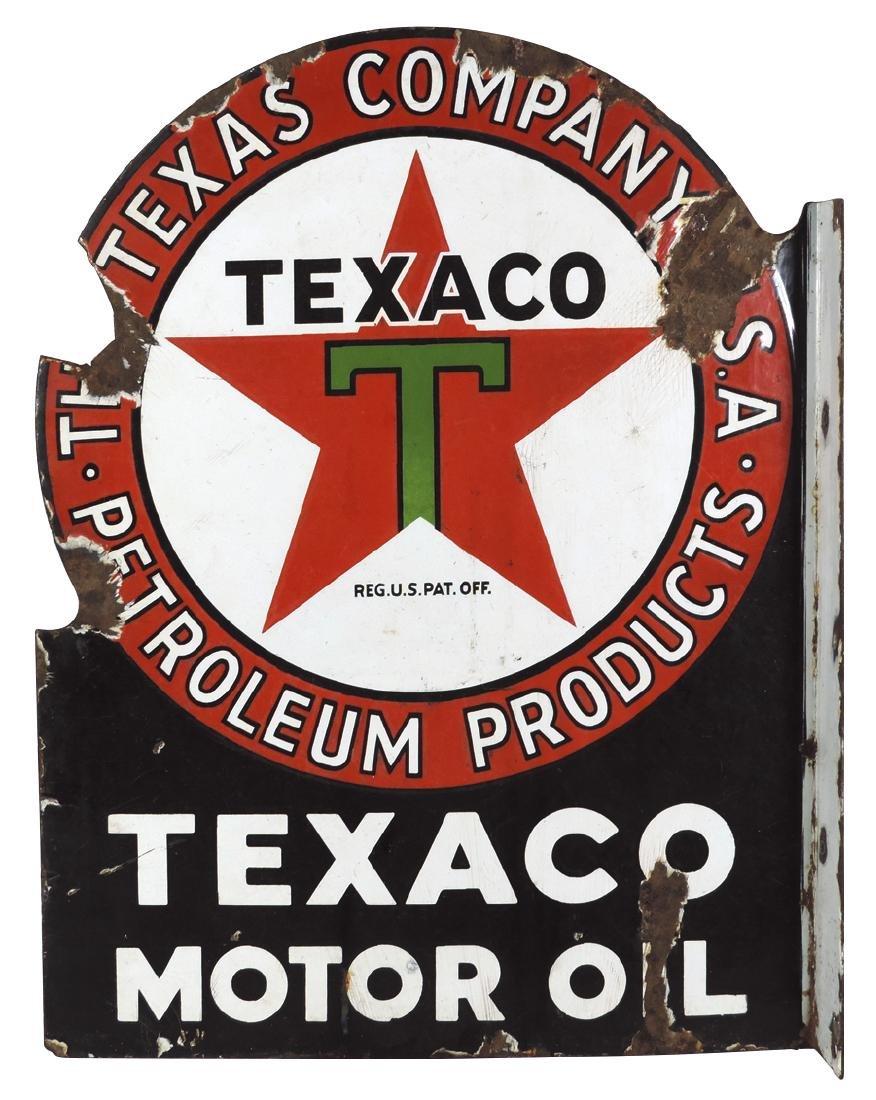 Petroliana sign, Texaco Motor Oil, 2-sided porcelain - 2