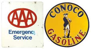 Petroliana signs (2) AAA Emergency 2-sided metal sign,
