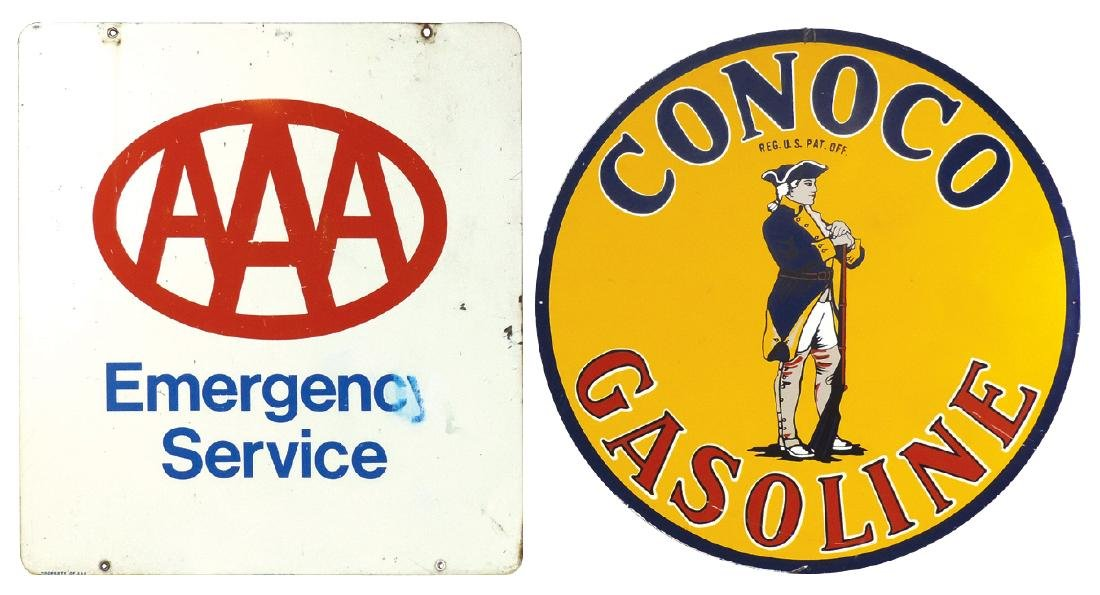 Petroliana signs (2) AAA Emergency 2-sided metal sign,