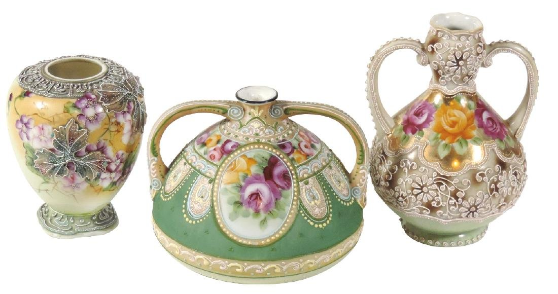 Porcelain (3), Nippon Moriage vases, hand-painted