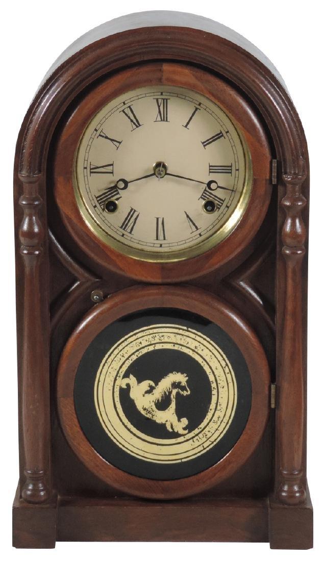 Clock, Atkins 8 day mantel,  Model #1563, walnut case