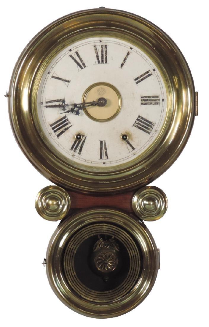 Clock, New Haven wall regulator, brass & mahogany case,