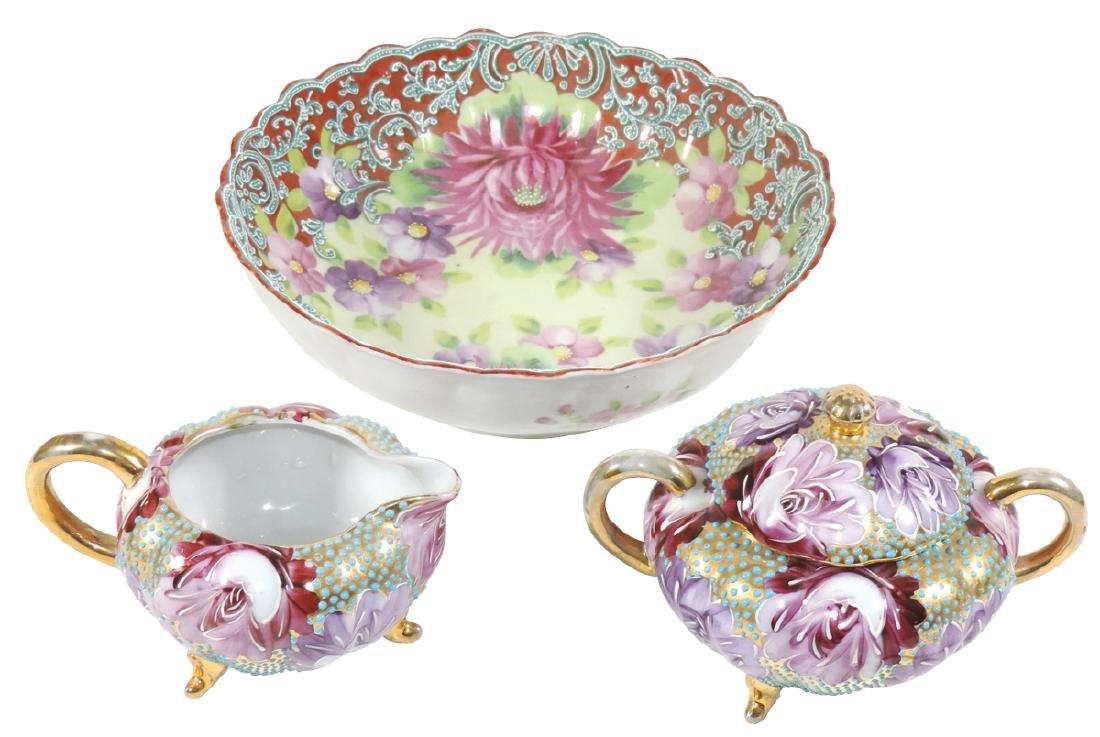 Porcelain (3), Nippon Moriage bowl, enameled &