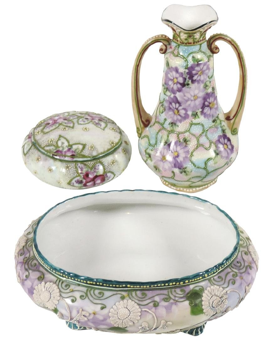 Porcelain (3), Nippon Moriage bowl, vase & dresser jar