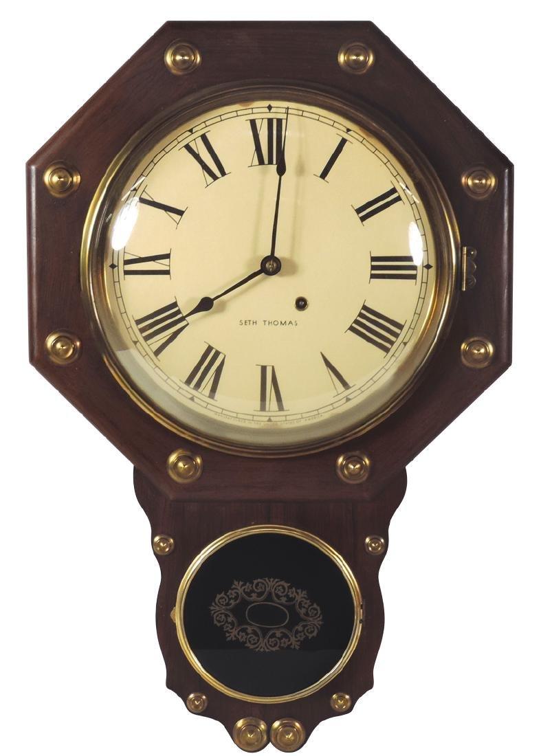 Clock, Seth Thomas school house, octagonal w/convex
