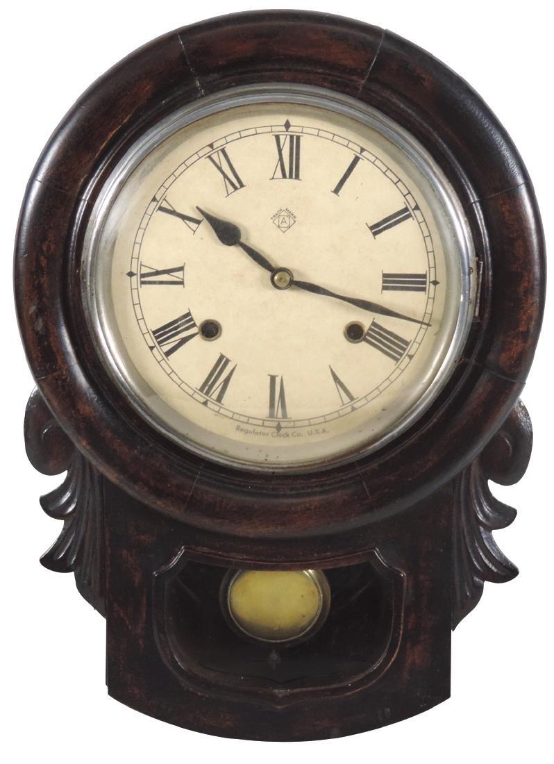 Clocks (2), both Ansonia, regulator w/dark walnut
