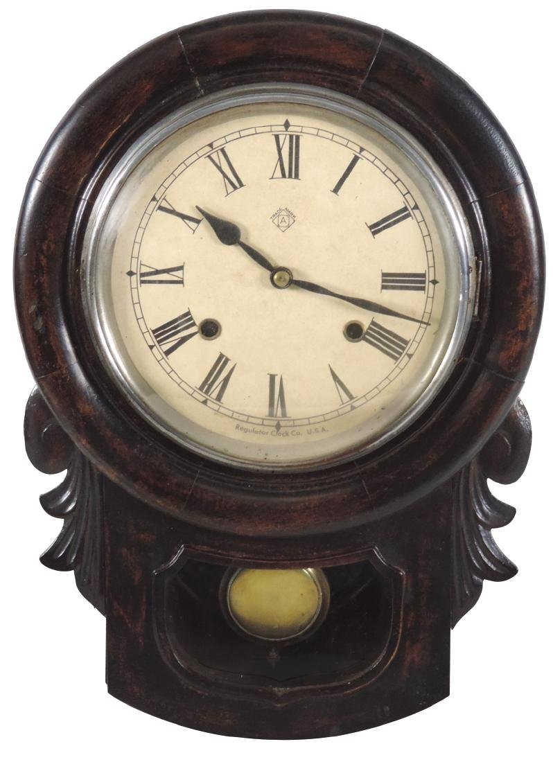 Clocks (2), both Ansonia, regulator w/dark walnut
