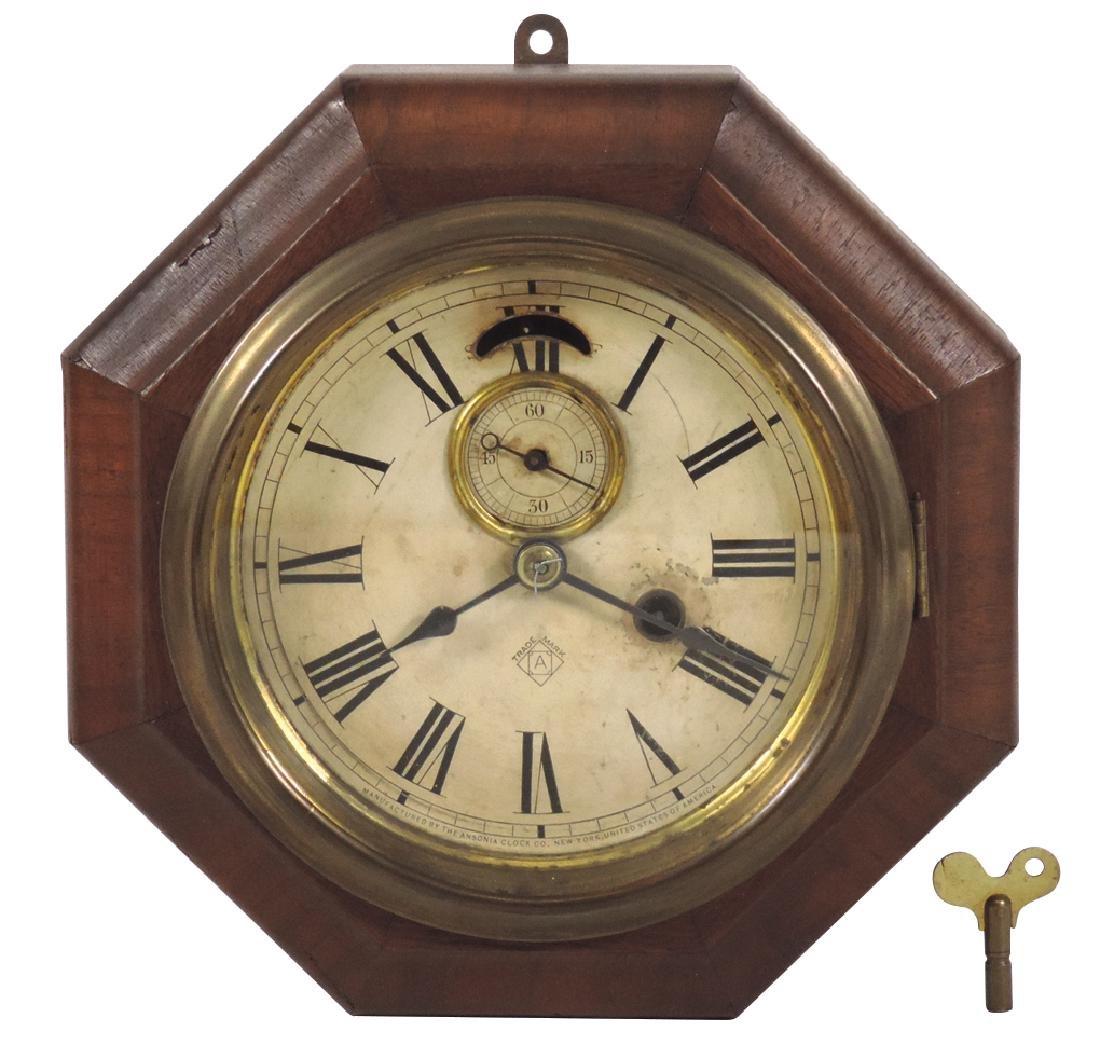 Clocks (2), both Ansonia, regulator w/dark walnut - 2